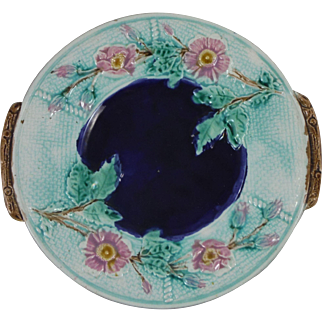 English Majolica Wild Rose Platter