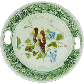 Antique Majolica Birds & Lilac Platter
