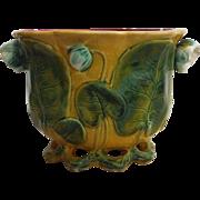 Antique Majolica Water Lily Jardiniere