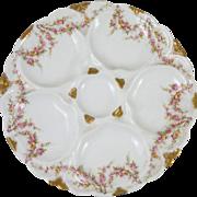 Antique Porcelain Roses Oyster Plate Haviland Limoges