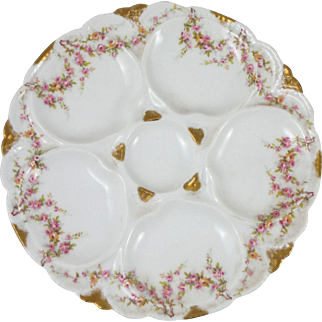 Antique Porcelain Roses Oyster Plate Haviland Limoges