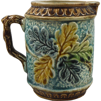 Antique Majolica Oak Leaves Creamer