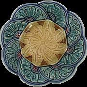 Antique Majolica Flower Plate
