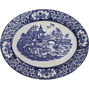 Antique English Blue & White Transferware Chinoiserie Platter