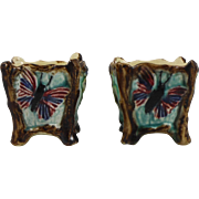 Antique Majolica Pair of Butterfly Jardinieres
