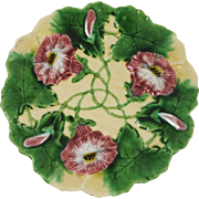 Antique Majolica Morning glory Charger