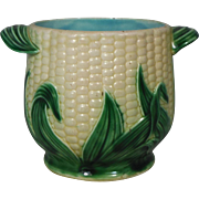19th Majolica Corn Cache pot