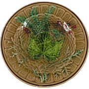 19th Majolica Leaves Plate