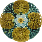 19th Majolica Lily Pad Plate