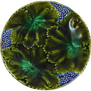 19th Majolica Leaves & Grapes Plate
