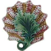 19th Majolica Leaf Handled Dish