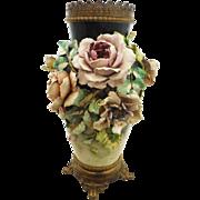 Monumental Majolica Barbotine Flowers Vase