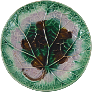 19th Majolica Cabbage Leaf Plate