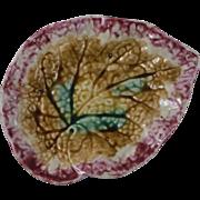 19th Majolica Begonia Leaf Dish