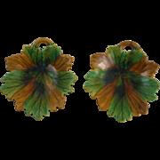 Pair of Majolica Leaf Dish