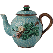 19th English Majolica Flowers Teapot