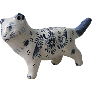 French Blue & White Faience Cat Desvres