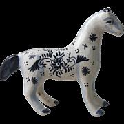 French Blue & White Horse Desvres