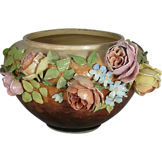 19th Large Majolica Flowers Jardiniere