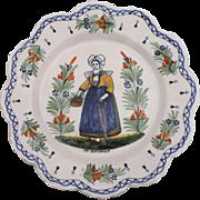 Antique Quimper Faience Plate Henriot