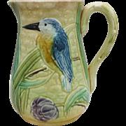 Antique Majolica Bird & Iris Pitcher
