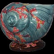 Antique Monumental Majolica Shell Jardiniere
