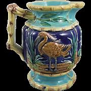 Antique English Majolica Bamboo & Birds Pitcher
