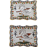 Antique Pair of French Faience Swan Dishes Desvres
