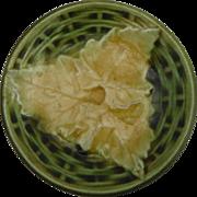 Antique Majolica Leaf Butter Pat