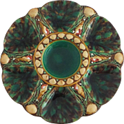 Antique Majolica Malachite Oyster Plate Minton
