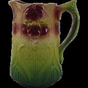 Antique Majolica Iris Pitcher