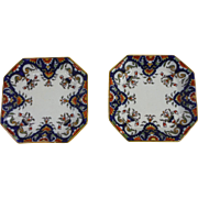 Antique Pair Of French Squares Dishes Desvres