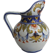 Antique French Faience Pitcher Desvres