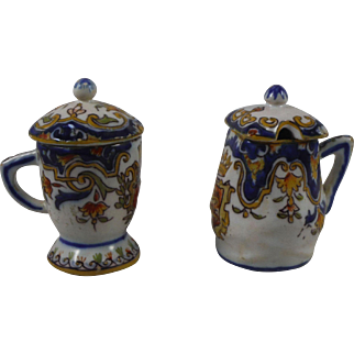 Antique Set of Two French Faience Mustard Pots Desvres