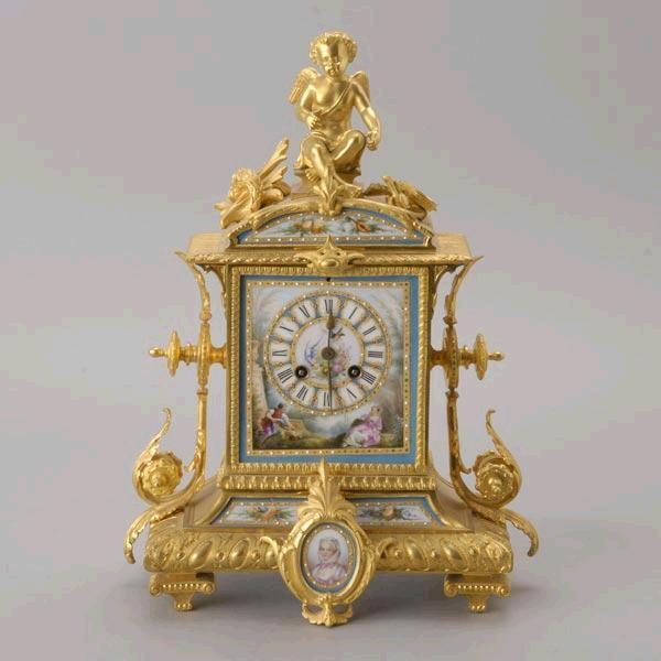 19c. Louis XV Style Gilt Bronze 3 Piece Clock Garniture