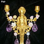 Pair 19c. French Ormolu and Amethyst Quartz 2 light Figural Sconces