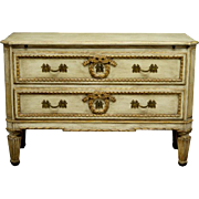 French Louis XVI Style Beige Painted Two-Drawer Commode