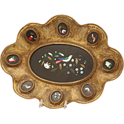 19th Century Italian Pietra Dura Oval Center Plaque