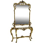 French Giltwood Console and Mirror with Marble Top