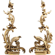 Unique Pair of French Gilt Bronze Andirons, 19th Century