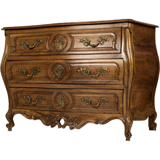 French 18th Century Provincial Carved Walnut Commode