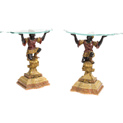Pair of Venetian Rococo Style Poly-Chromed Figural Consoles