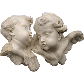 19th Century Italian Marble Bust Plaque of Two Cherubs
