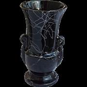 Mid Century Black White Drizzle Glaze Urn Style Pottery Vase