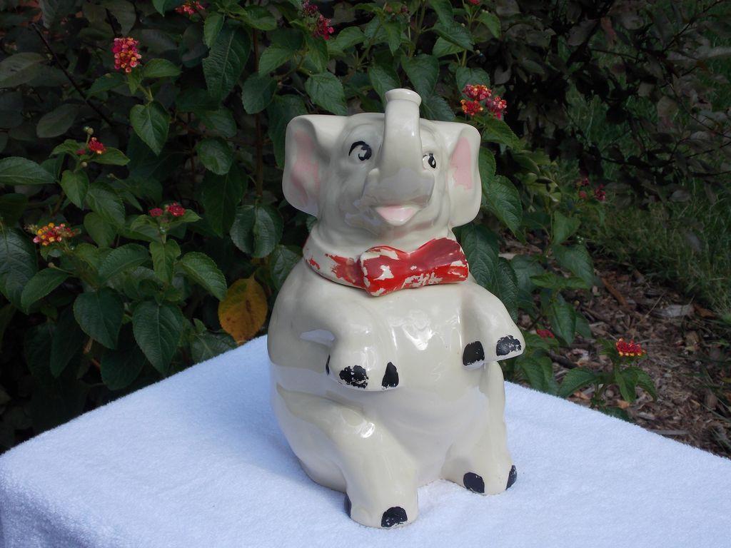 Vintage shawnee cold paint elephant cookie jar sold on ruby lane - Vintage elephant cookie jar ...
