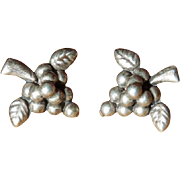 Mexico Silver Grape Leaves and Stem Earrings