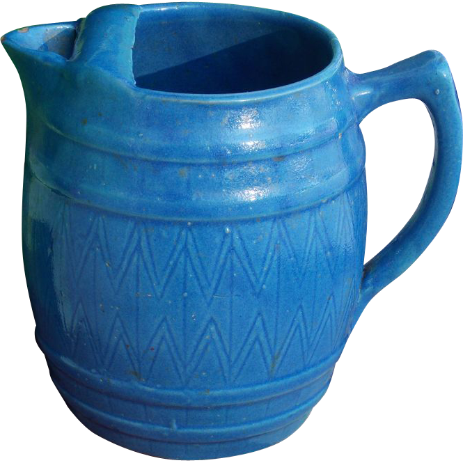 Blue Salt Glaze Barrel Shaped Pitcher