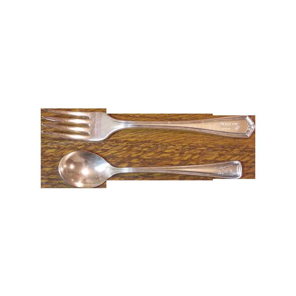 1920 Western Airlines and Walgreen Agency - Native American Head Fork Spoon Vintage Silverplate Advertising
