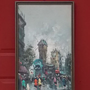 Vintage 70's Acrylic Painting Town Walk After The Rain