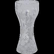 "Season Sale  12"" ABP American Brilliant Period Antigue Heavy Cut Glass Corset Vase"